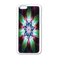 Colorful Fractal Flower Star Green Purple Apple Iphone 6/6s White Enamel Case