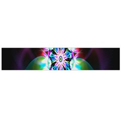 Colorful Fractal Flower Star Green Purple Flano Scarf (large)