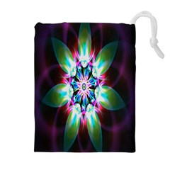 Colorful Fractal Flower Star Green Purple Drawstring Pouches (extra Large)