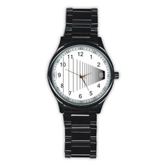 Fence Line Black Stainless Steel Round Watch