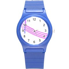 Electricty Power Pole Blue Pink Round Plastic Sport Watch (s)