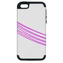 Electricty Power Pole Blue Pink Apple Iphone 5 Hardshell Case (pc+silicone)