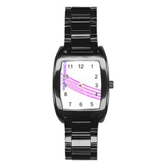 Electricty Power Pole Blue Pink Stainless Steel Barrel Watch