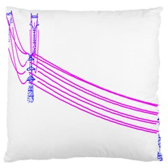 Electricty Power Pole Blue Pink Large Flano Cushion Case (one Side)