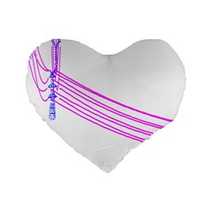 Electricty Power Pole Blue Pink Standard 16  Premium Flano Heart Shape Cushions