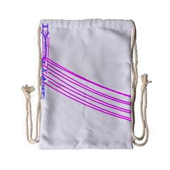 Electricty Power Pole Blue Pink Drawstring Bag (small)