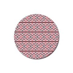 Clipart Embroidery Star Red Line Black Rubber Round Coaster (4 Pack)