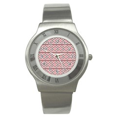 Clipart Embroidery Star Red Line Black Stainless Steel Watch