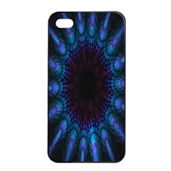 Exploding Flower Tunnel Nature Amazing Beauty Animation Blue Purple Apple Iphone 4/4s Seamless Case (black)