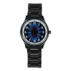Exploding Flower Tunnel Nature Amazing Beauty Animation Blue Purple Stainless Steel Round Watch