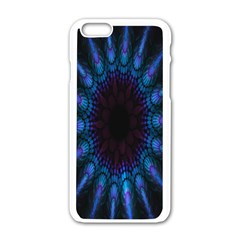 Exploding Flower Tunnel Nature Amazing Beauty Animation Blue Purple Apple Iphone 6/6s White Enamel Case