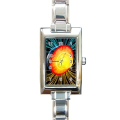 Cross Section Earth Field Lines Geomagnetic Hot Rectangle Italian Charm Watch