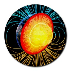 Cross Section Earth Field Lines Geomagnetic Hot Round Mousepads