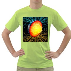 Cross Section Earth Field Lines Geomagnetic Hot Green T Shirt