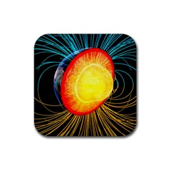 Cross Section Earth Field Lines Geomagnetic Hot Rubber Coaster (square)