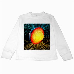Cross Section Earth Field Lines Geomagnetic Hot Kids Long Sleeve T Shirts