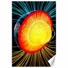 Cross Section Earth Field Lines Geomagnetic Hot Canvas 24  X 36