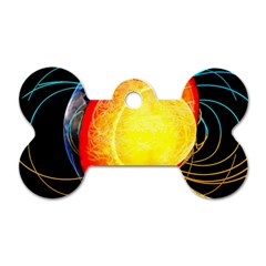 Cross Section Earth Field Lines Geomagnetic Hot Dog Tag Bone (two Sides)