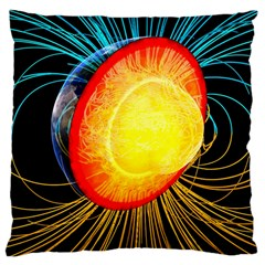 Cross Section Earth Field Lines Geomagnetic Hot Large Cushion Case (one Side)
