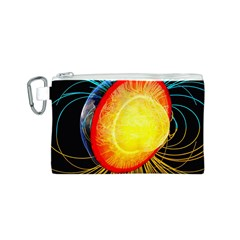 Cross Section Earth Field Lines Geomagnetic Hot Canvas Cosmetic Bag (s)