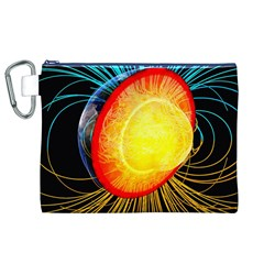 Cross Section Earth Field Lines Geomagnetic Hot Canvas Cosmetic Bag (xl)