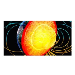 Cross Section Earth Field Lines Geomagnetic Hot Satin Shawl