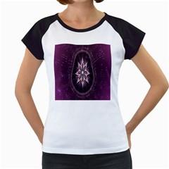 Flower Twirl Star Space Purple Women s Cap Sleeve T