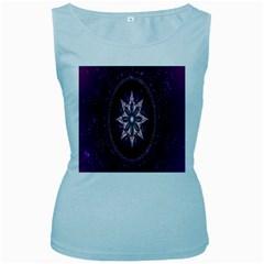 Flower Twirl Star Space Purple Women s Baby Blue Tank Top