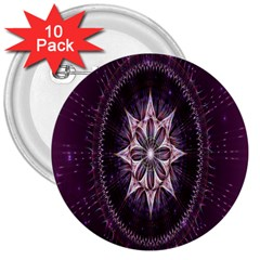 Flower Twirl Star Space Purple 3  Buttons (10 Pack)