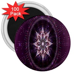 Flower Twirl Star Space Purple 3  Magnets (100 Pack)