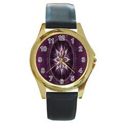 Flower Twirl Star Space Purple Round Gold Metal Watch