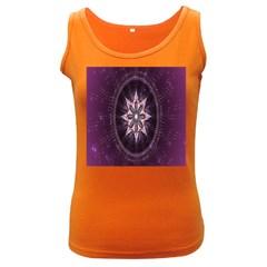 Flower Twirl Star Space Purple Women s Dark Tank Top