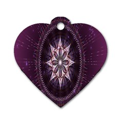 Flower Twirl Star Space Purple Dog Tag Heart (two Sides)