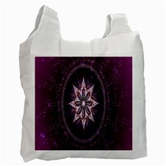 Flower Twirl Star Space Purple Recycle Bag (two Side)