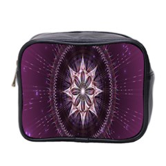 Flower Twirl Star Space Purple Mini Toiletries Bag 2 Side