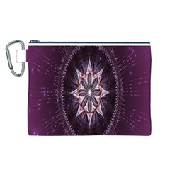 Flower Twirl Star Space Purple Canvas Cosmetic Bag (l)