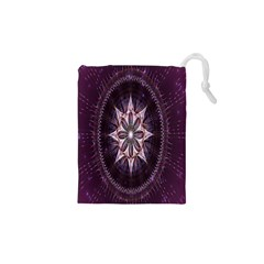 Flower Twirl Star Space Purple Drawstring Pouches (xs)
