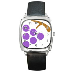 Fruit Grape Purple Square Metal Watch