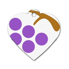 Fruit Grape Purple Dog Tag Heart (two Sides)