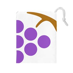 Fruit Grape Purple Drawstring Pouches (large)