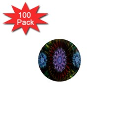 Flower Stigma Colorful Rainbow Animation Gold Space 1  Mini Magnets (100 Pack)