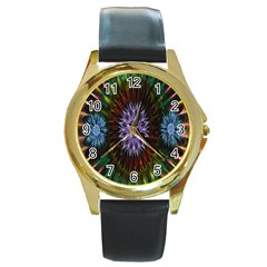 Flower Stigma Colorful Rainbow Animation Gold Space Round Gold Metal Watch