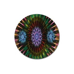 Flower Stigma Colorful Rainbow Animation Gold Space Magnet 3  (round)