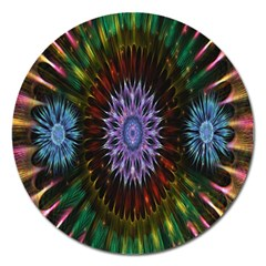 Flower Stigma Colorful Rainbow Animation Gold Space Magnet 5  (round)