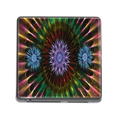Flower Stigma Colorful Rainbow Animation Gold Space Memory Card Reader (square)