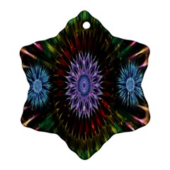 Flower Stigma Colorful Rainbow Animation Gold Space Snowflake Ornament (two Sides)