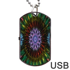 Flower Stigma Colorful Rainbow Animation Gold Space Dog Tag Usb Flash (two Sides)