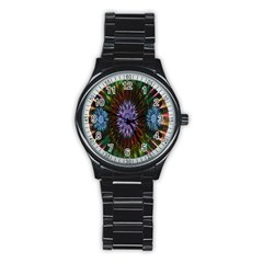 Flower Stigma Colorful Rainbow Animation Gold Space Stainless Steel Round Watch