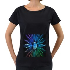 Flower Stigma Colorful Rainbow Animation Space Women s Loose Fit T Shirt (black)