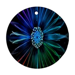 Flower Stigma Colorful Rainbow Animation Space Round Ornament (two Sides)